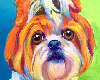 Shih Tzu, Pet Portrait, DawgArt, Dog Art, Pet Portrait Artist, Colorful Pet Portrait, Shih Tzu Art, Pet Portrait Painting, Art Prints