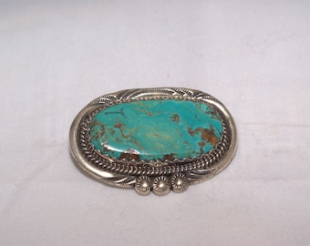 vintage turquoise and silver handmade pin/pendant