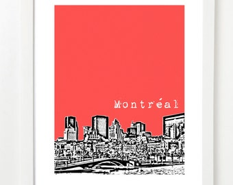 Montreal Skyline Art Print - Montreal City Poster - Montreal Quebec Poster - Unique Birthday Gift