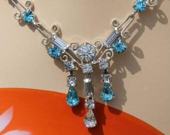 Circa 1950s / 1960s Vintage LEO GLASS Rhinestone Choker Necklace - Silver Tone Necklace - Clear & Aqua Blue Rhinestones - Costume Jewelry