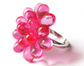 Funky Ringe, Neon Pink RaspBerry Ring, Aussage ring, hell rosa Cocktail-Ring, rosa Cluster-Ring, Hot pink verstellbarer Ring, sofort lieferbar