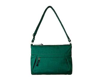 Canvas Crossbody Bag No.2, Canvas Hobo Bag, Waxed Canvas Bag, Emerald Green
