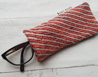Handwoven Twill Orange, Navy Glasses case, spectacles case, diagonal stripe