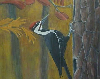 "Pileated Woodpecker print (11"" x 14"")--Original Wildlife Artwork"