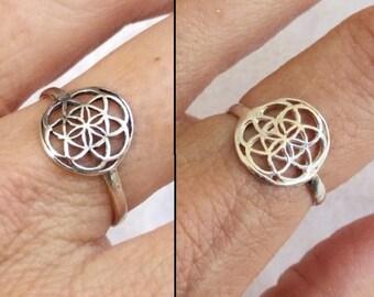 Sterling Silver Ring, Seed of Life Ring, Flower of Life Ring, Sacred Geometry Ring, Ethnic Ring, Round Ring, Mandala Ring, Spiritual Jewelry