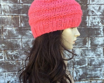 Coral Hat, Knit Hats Women, Ribbed Knit, Fall Fashion, Hand knit Hat, Womens Fashion Trend