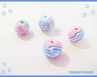 Set of 4 Fimo beads millefiori cane for this spring pastel color