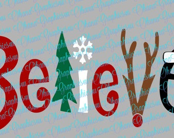 Two Styles of Believe, Christmas Theme SVG