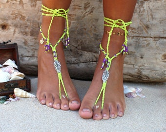 Festival Clothing - Foot Jewelry - Bohemian Barefoot Sandals - Macrame Sandals - Festival - Hippie Barefoot Sandals - Hand Made in Africa