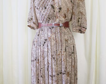 Paisley Japanese Vintage Pleated Day Dress, Ethnic floral Brown 80s midi dress, Small Medium 4166