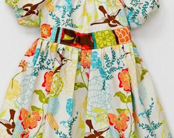 Size 2 Girls Hummingbird Peasant Dress | Toddler Girl Easter Dress | Little Girls Spring Bird Dress | One of a Kind Girls Party Dress