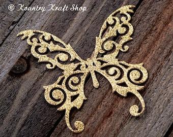 Set of five Golden Glittering Butterfly Die Cuts