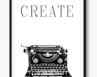 Typewriter Poster, Typewriter Photo, Create Words, Modern Print, Antique, Business Art, Office Decor, Secretary Gift, Vintage Typewriter