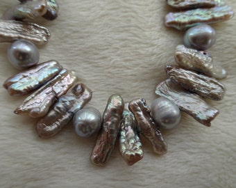 Resplendant Silver Blue Biwa Pearl Necklace