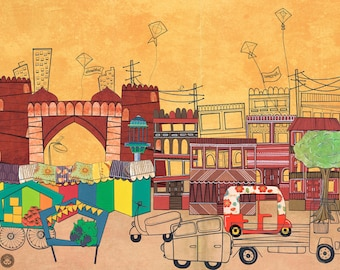 Ahmedabad Amdavad - Postcards from India - 11 by 14 Illustration Paper Collage Art Print (Signed)