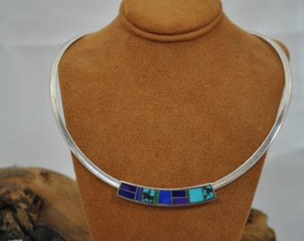 Omega slide etsy sterling silver multi color inlay pendant slide on omega chain aloadofball Images