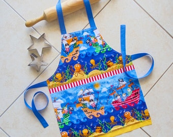 Kids Apron Pirates, childs blue kitchen baking apron, craft art play apron, boys girls lined cotton apron with yellow border, Cheeky Pirates