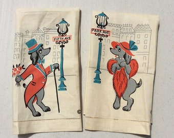 Vintage His N Her Towels Pair Park Ave Poodles Fifth Ave Manhattan New York Retro NYC Anthropomorphic