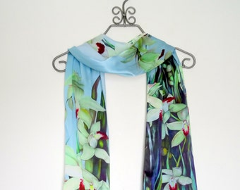 "Holiday Gift, For Her, Cymbidium, Orchid Silk SCARF, 15""x60"""