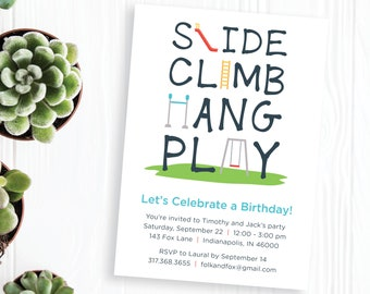 Playground Birthday Party Invitations, Twins Birthday Party, Printable Invitations, Slide, Climb, Hang, Play