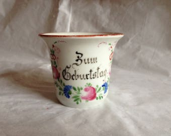 Victorian Hand Painted Porcelain Tea Coffee Cup ~ Zum Geburtstag = For Birthday