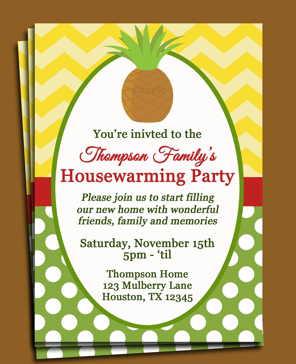 Pineapple invitation printable or printed with free shipping zoom stopboris Images