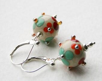 Silver Earrings Lampwork Glass Bead