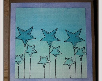 Any Occasion Card - Stars - Green/Blue Ombre