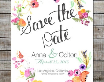 Rustic Wedding Save The Date Wedding Invitations Watercolor Floral Save The Date Cards Digital Printable Invitations Floral Wreath Invite