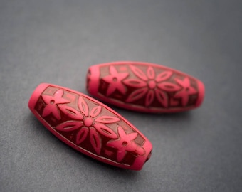2 pcs - dark pink Brown carved Lucite beads, tube, oval, flower • 28mm