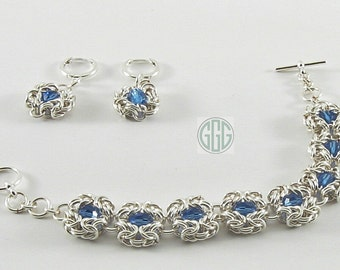 Bracelet & Earring Set - Silver Byzantine Poppy With Sapphire Blue Swarovski Crystal Chain Maille (S027)