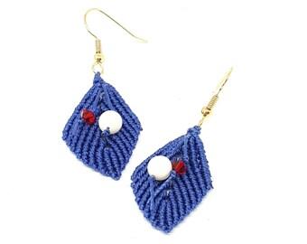 Orecchini macrame, orecchini pendenti, orecchini con perline, orecchini foglia, orecchini romantici, orecchini delicati, orecchini corti