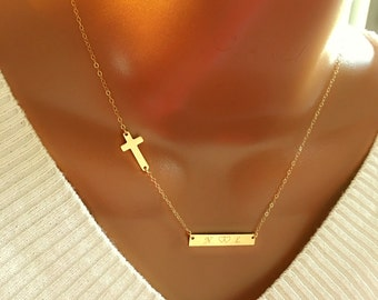 14k gold filled Cross and initial Bar necklace, personalized necklace, personalized initial bar, perfect gift