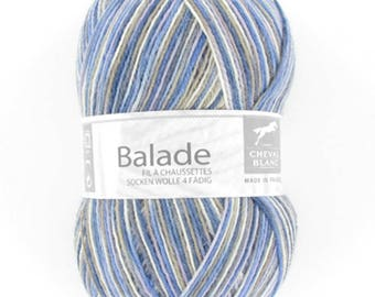 Blue stroll sock yarn / natural / beige No. 416 white horse