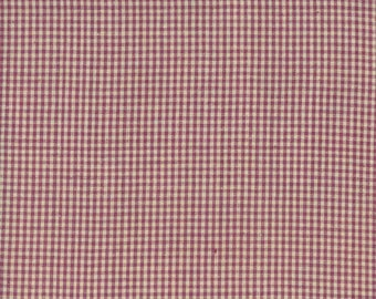 Homespun Burgundy Check Cotton Fabric sold by the yard and by the half yard