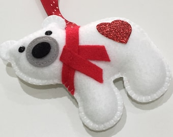 Handstitched Felt Polar Bear Hanging Decoration Ornament - made in Cornwall