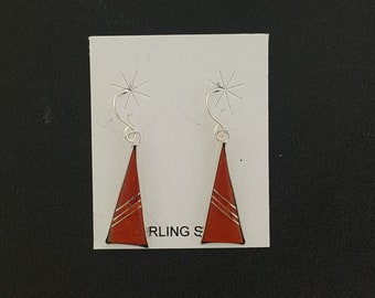 sterling silver red spiny oyster triangle dangle earrings