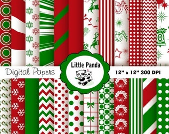 70% OFF SALE Christmas Digital Scrapbooking Papers  24 jpg files 12 x 12 - Instant Download - D148