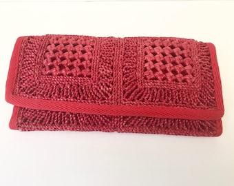 Vintage 80's Red Straw Clutch Bag
