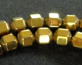 16 inch Strand HEMATITE 4mm Shiny METALLIC GOLD Square Cube Spacer Beads 104pc