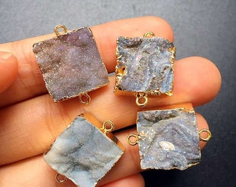 New Beautiful Agate Druzy Druzzy Drusy Square Shaped Double Bail Connector Pendant with Gold Electroplated S29B5-10