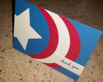 Captain America thank you card, Winter Solider thank you, Marvel comics thanks, superhero thank you, shield card, birthday thank you