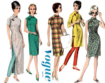 Vogue 5571 Womens Cheongsam & Pants Asian Influence Mandarin Collar 60s Vintage sewing pattern Size 14 Bust 34 Inches UNUSED Factory Folded