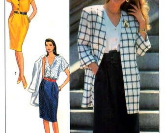 80s Simplicity 9511 Cap Sleeved Dress with V-Neckline and Unlined Jacket, Uncut, Factory Folded, Sewing Pattern Size 6-14