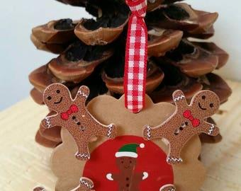 Set of 4 mini clothespins wooden gingerbread man