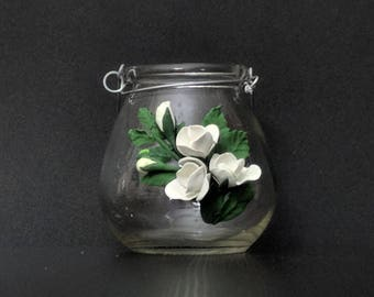 """4.5"""" candle holder with handle -  white"""