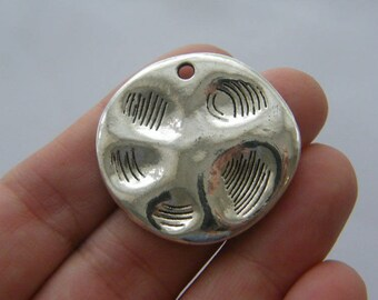 4 Paw charms antique silver tone A343