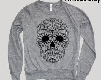 Day of the Dead Raglan Sweater, Sugar Skull American Apparel Tri-Blend Soft Vintage Feel, Sizes S, M, L Multiple Colors, Christmas Gifts