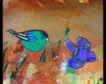 Cute Little Bird Pin Set