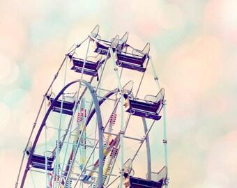 Ferris wheel photo, girl nursery ideas, pastel art, carnival art, nursery decor girl, toddler girl room decor, carnival theme decor